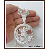 Pingente Para Corrente, Cordão, São Jorge Em Prata 950