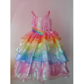 Espectacular Vestido Disfraz Lujo Barbie Arco Iris