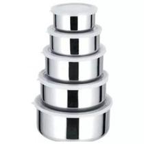 Kit Conjunto De Potes Em Inox Com Tampas 5 Peças - 561877
