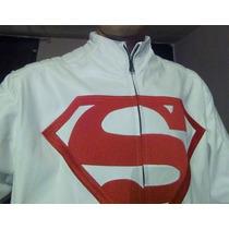 Chamarra De Piel Blanca De Superman Original Dc Comics