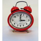 Relógio Despertador Analógico 2 Sinos Alarme Alto A Pilha