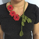 Colar Croche Rosas Verde