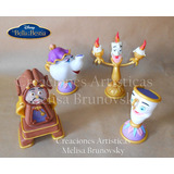 4 Personajes De La Bella Y La Bestia, Disney, Porcelana Fria