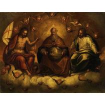 Lienzo Tela Santísima Trinidad Mirando Al Mundo Arte Sacro