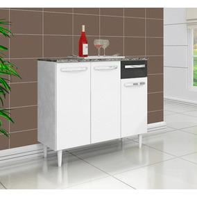 Balcão Gabinete Cozinha Branco E Preto B40 Frete Gratis D