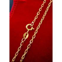 Cordão Cadeado 2mm _ Prata 925 Banhada A Ouro 24k
