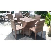Mesa X Com 4 Cadeiras Em Alumínio E Fibra Sintética