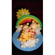 Adorno De Torta En Porcelana Fria- Winnie Pooh Y Tiguer