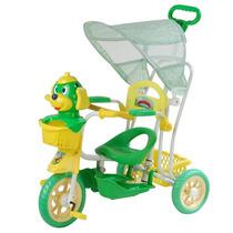 Carrinho Bebê Triciclo 3 Em 1 Capota Musical Luz Verde 9110