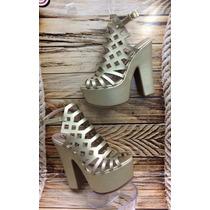 Sandalia Tacon Alto Dorada Dama Mujer Distribuidores Calzado