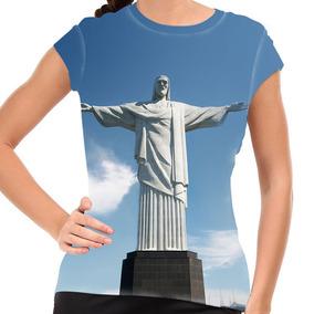 Camiseta Rio De Janeiro Cristo Redentor Baby Look