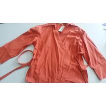 Camisa Cruzada Para Atar Color Naranja