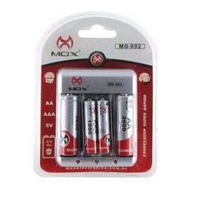 8 Pilhas Recarregáveis Mox 4 Aa + 4 Aaa + Carregador Rápido