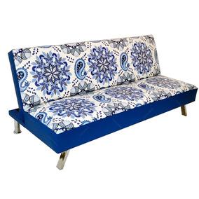 Sofá-cama Indigo Mandala Azul Em Madeira S/juros S/frete