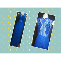 Vestido De Festa Rendado Azul Royal