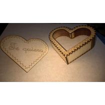 Caja Corazon Corte Laser Madera Mdf Pasa San Valentin