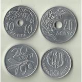 4 Moedas Da Grécia 10 E 20 Lepta 1959-1973 Datas Variadas