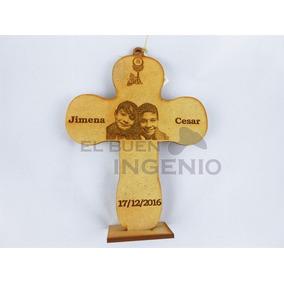 Recuerdo Cruz De Madera Personalizada Bautizo Boda Xv Años