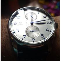 Relógio Parnis 43mm Automático Prata Couro