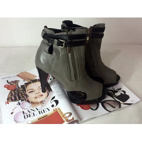 *bota* Linda Ankle Boot Couro Preto E Cinza #melissa#schutz