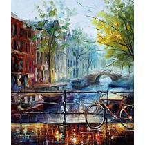 Pintura Al Óleo Bicycle In Amsterdam Por Leonid Afremov