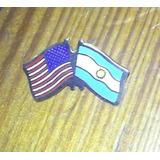 Pin De Bandera Argentina Y Estados Unidos