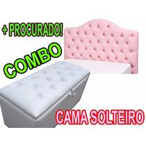 Cabeceira Solteiro Curva Painel + Puff Baú 90 Cm Pé De Cama
