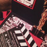 Invitaciones Hollywood Estilo Pop Ups Negras
