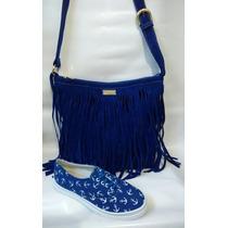 Combo Bello Vans Calzado + Bolso Dama Moda Azul Envío Gratis