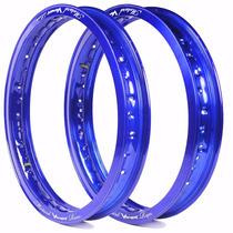 Aro De Moto Viper Motard Dianteiro E Traseiro - Azul