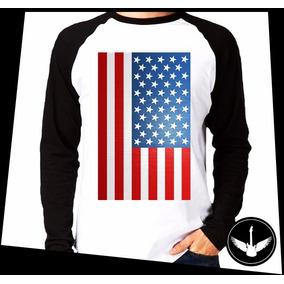 Manga Longa Bandeira Eua Estados Unidos Camisa Blusa