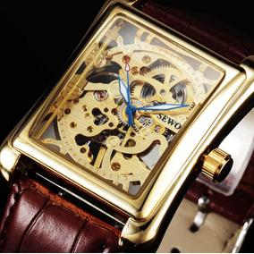 Relógio Masculino Luxo Esqueleto Marca Sewor Pulseira Couro
