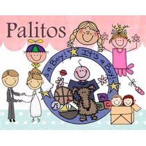 Kit Imprimible La Familia Palitos, Invitaciones Y Cajitas
