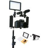 Suporte De Camera Dslr + Microfone Shotgun Sg-108 + Led W160