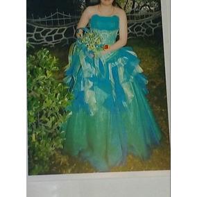 Vestido Quinceañera Strapless Azul / Verde Agua Talla 28-30