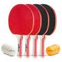Mesa De Ping Pong Set - Paquete De 4 Premium Paletas / Raqu