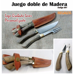 Juego Artesanal Cuchillo Tenedor Logo Regalo Empresarial