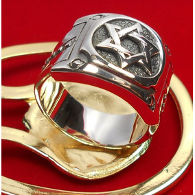 Anel Estrela Davi Hexagrama Prata 950 Masculino Certificado