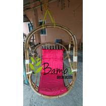 Silla Columpio Colgante Exterior Rattan Bambu Tipo Moises