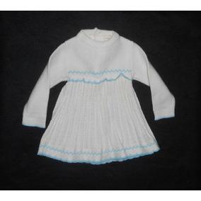 Precioso Vestidito Tejido, Color Hueso Con Azul, 0-3 Meses