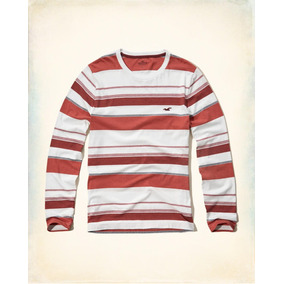 Hollister Camiseta Cuello Reondo Rayas Talla Xl Originales