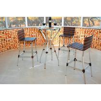 Banqueta, Alumínio, Fibra Sintética, Junco, Kit 3 Un.