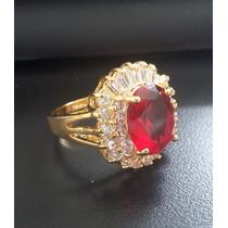 Anel Solitário Pedra Zirconia Vermelha Banhado Ouro 18k