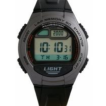 Relógio Casio W-734 1av 5 Alarmes Memória 60 Voltas Wr100 Mt