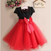 Vestido Infantil Luxo Vermelho Festa Casamento P. Entrega