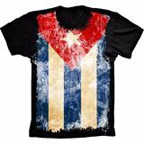 Camiseta Bandeira Cuba Flag Malha Fria Cubano Estampada Pais