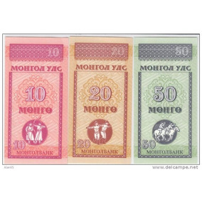 3 Cédula Da Mongolia (ásia) / Nota 10,20,50 Mongo Mongolian