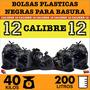 Bolsa Plástica Negra Basura 40kg 200lt Calibre 12 Resistente