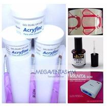 Combo Cabina Primer Polimero Gel Uv Acryfine+accesorios Uñas