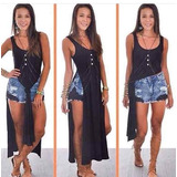 Blusa Vestido Super Fenda Lateral Blogueira 2 Pontas 2701